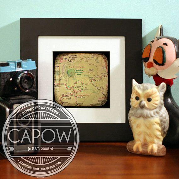 Map art print  me & you yosemite national park california by CAPow, $15.00