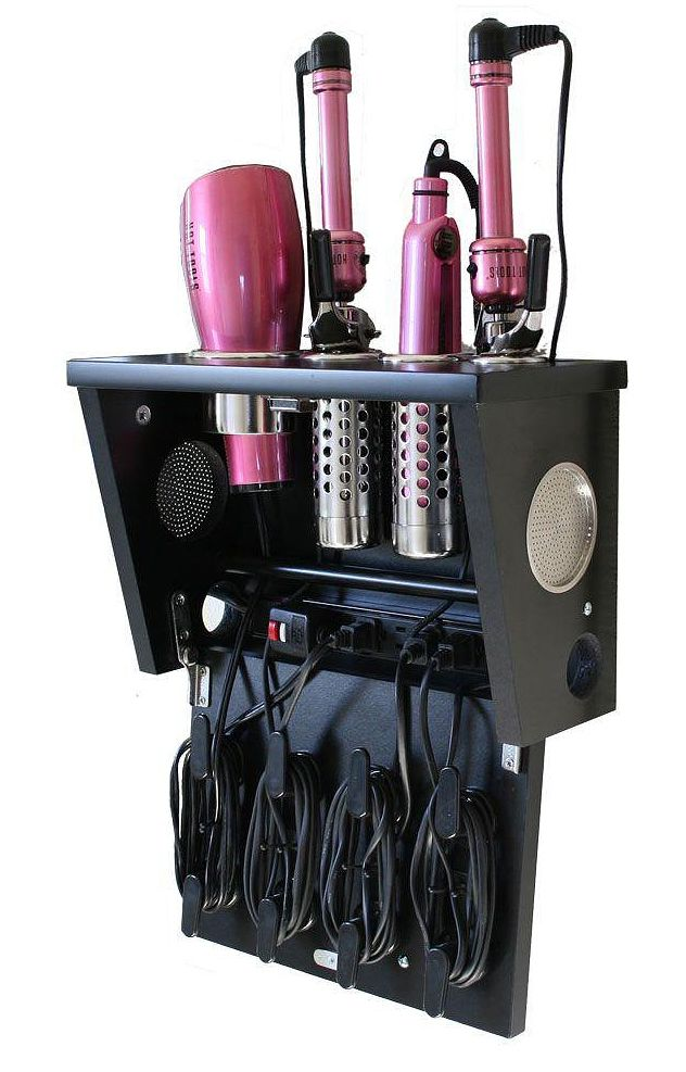 Pojjo Wall Mount Hair Liance Storage System In Black Laminate