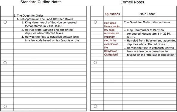 Example Cornell Notes And Analysis Level Questioning Teaching