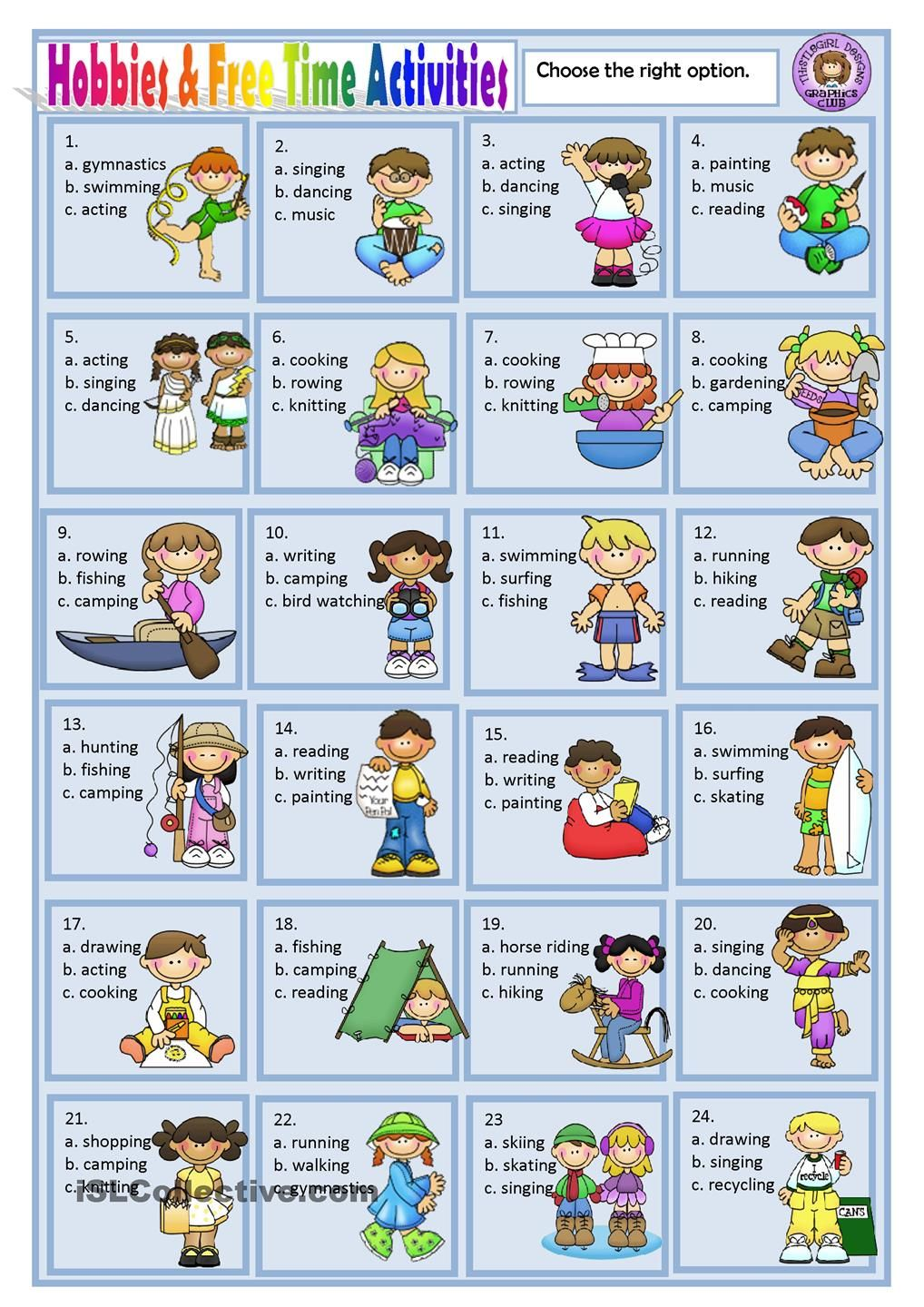 ejercicios de ingles free time activities