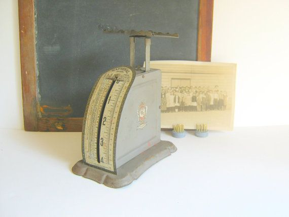 Metal Postal Scale Gray Antique Chippy by RollingHillsVintage, $23.50