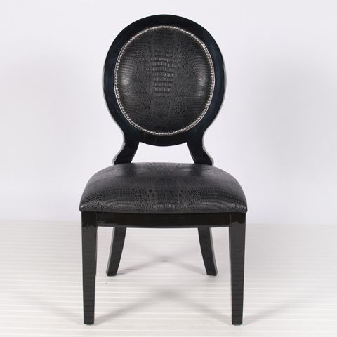 Worlds Away Overton Black Oval Backed Dining Chairs, Black Upholstery, Nail  Head Trim Oval Black Side Chairs With Faux Croc Upholstery And Nickel Studs.