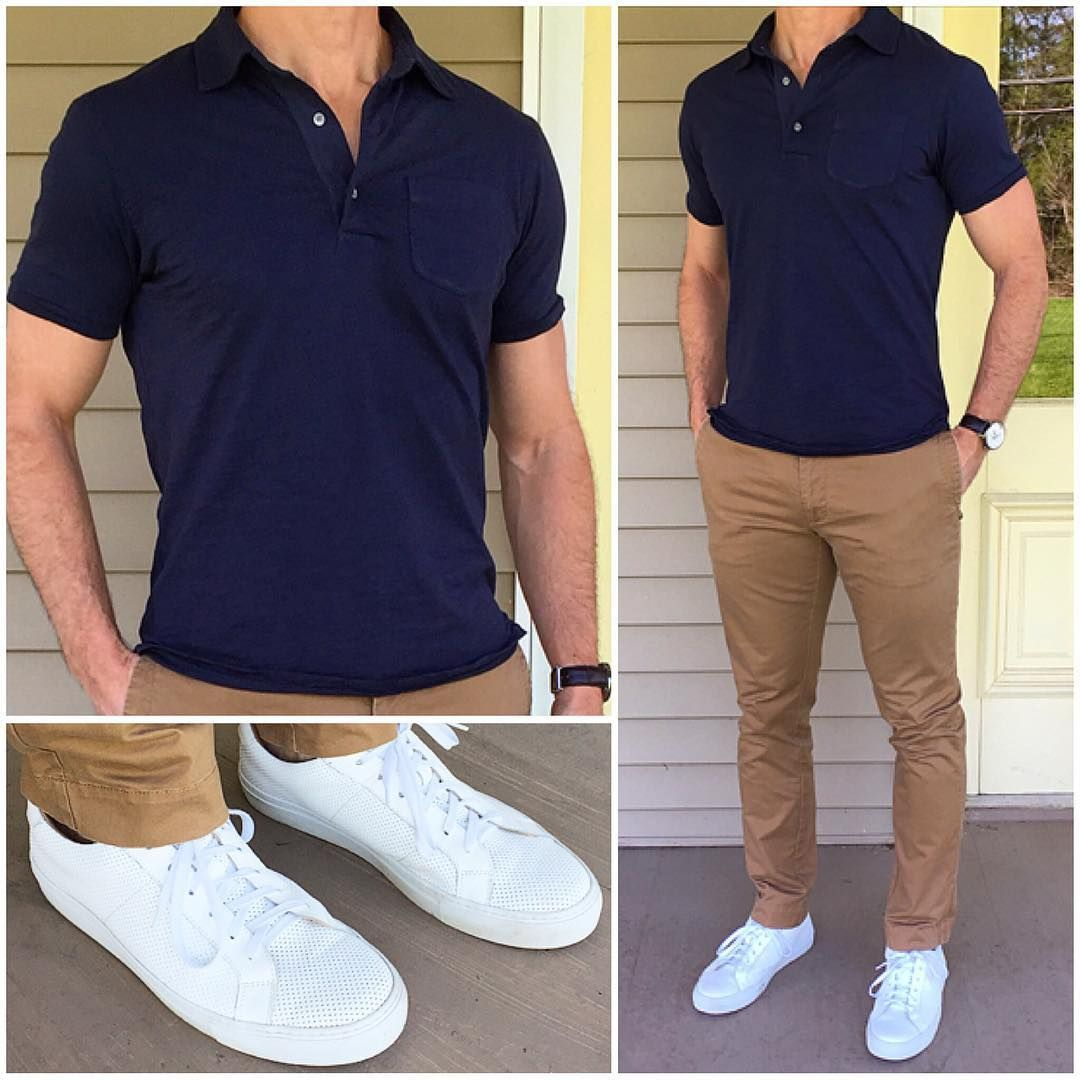 You canu0026#39;t ever go wrong with a classic polo khaki chinos and crisp white sneakers ufe0f u2600ufe0f Do ...