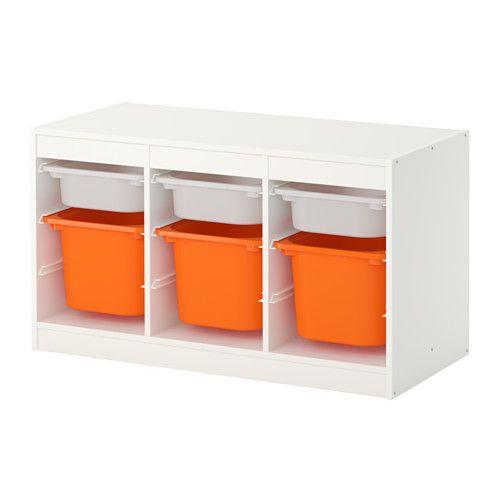 Trofast Opbergcombinatie Met Bakken Wit Oranje Ikea