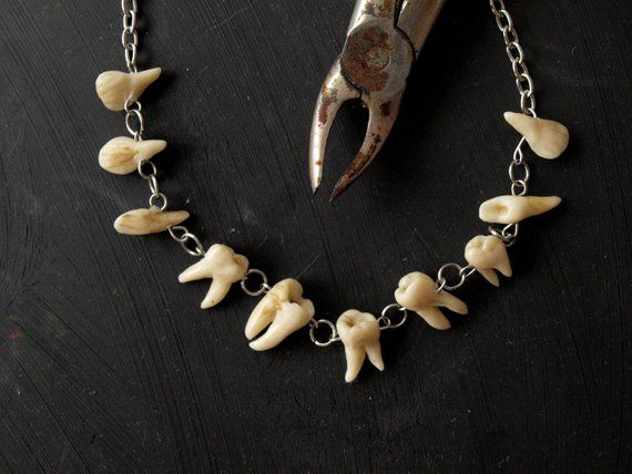 0c703e850a71e Human teeth necklace, Goth jewelry, Taxidermy art, Tooth fairy ...