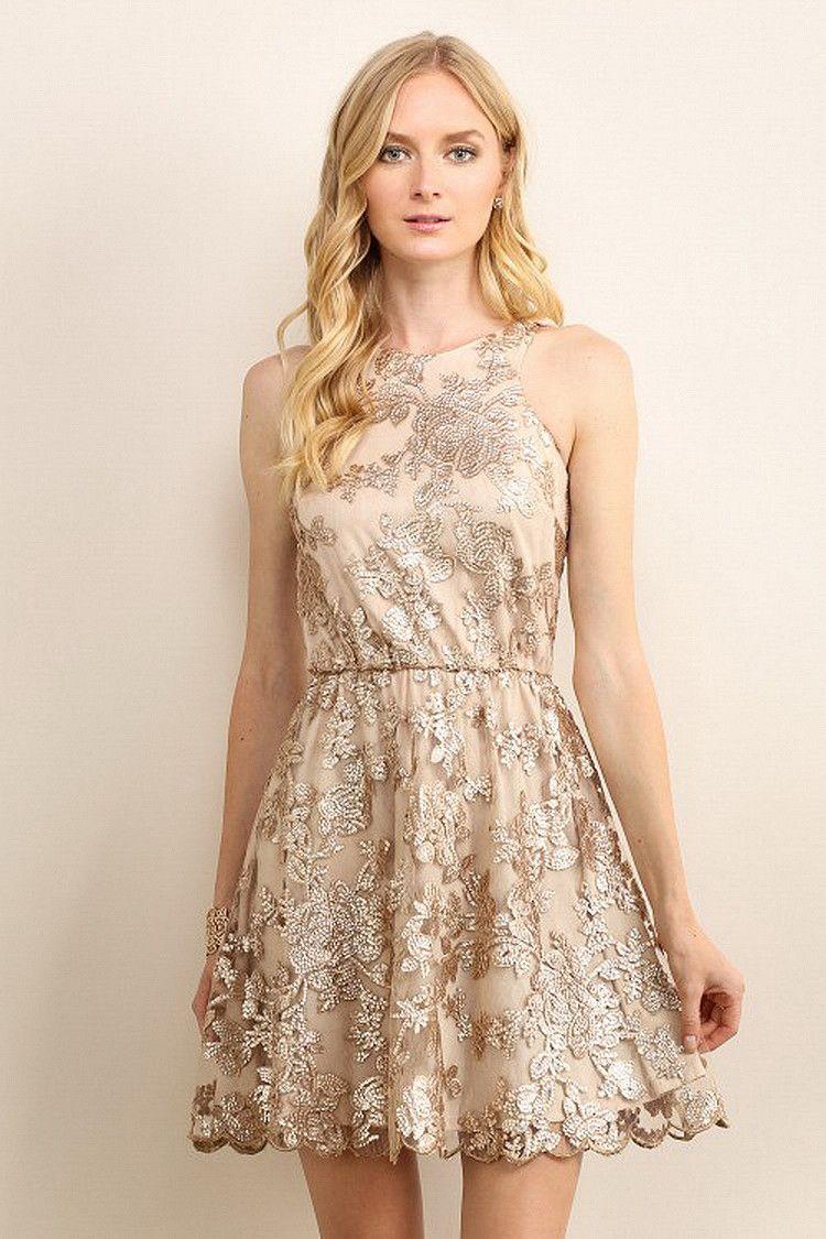 4daa2b17cef2 Gold Floral Sequin Fit & Flare Dress | Stitch | Dresses, Fit flare ...