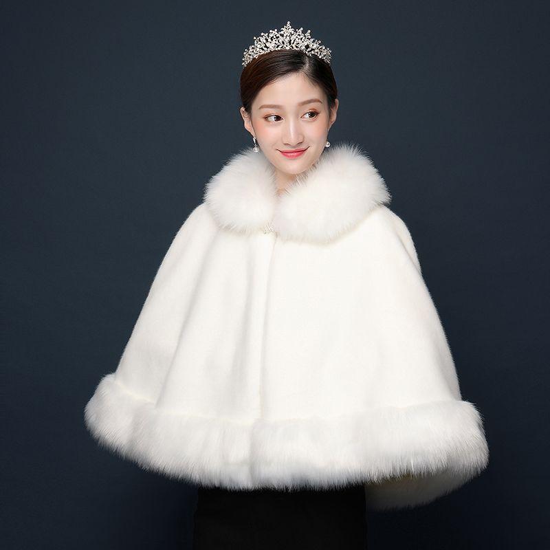 2019 Winter Wedding Cloak Bridal Faux Fur Wraps Warm