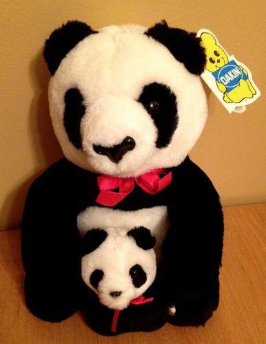 Plush PANDA BEAR Set ~ DAKIN Mama & Baby Stuffed Animal Bears Toy