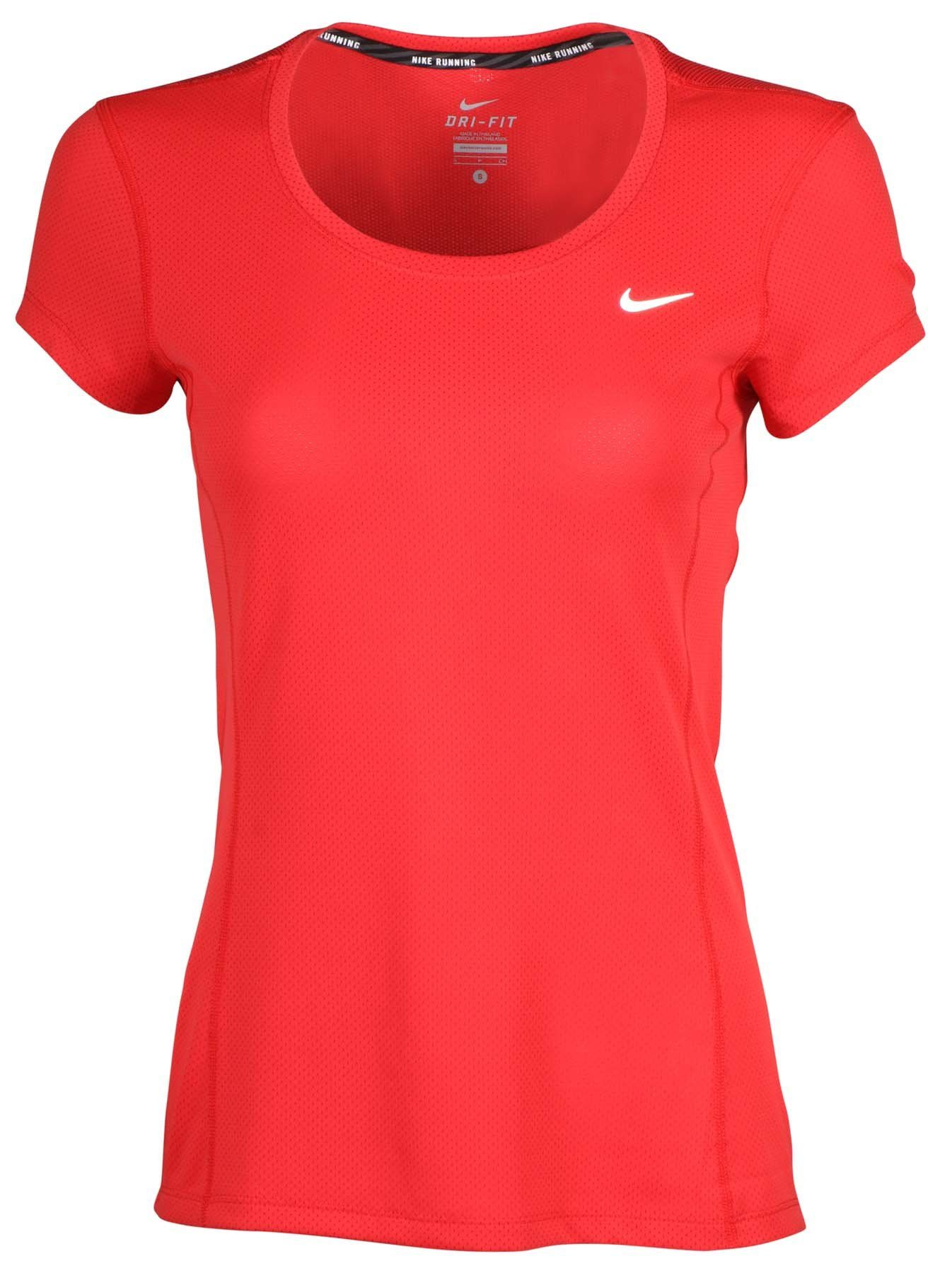 ad9534f7ad32 Nike Women s Dri-Fit Contour Short Sleeve Running Shirt-Red-Large. Authentic