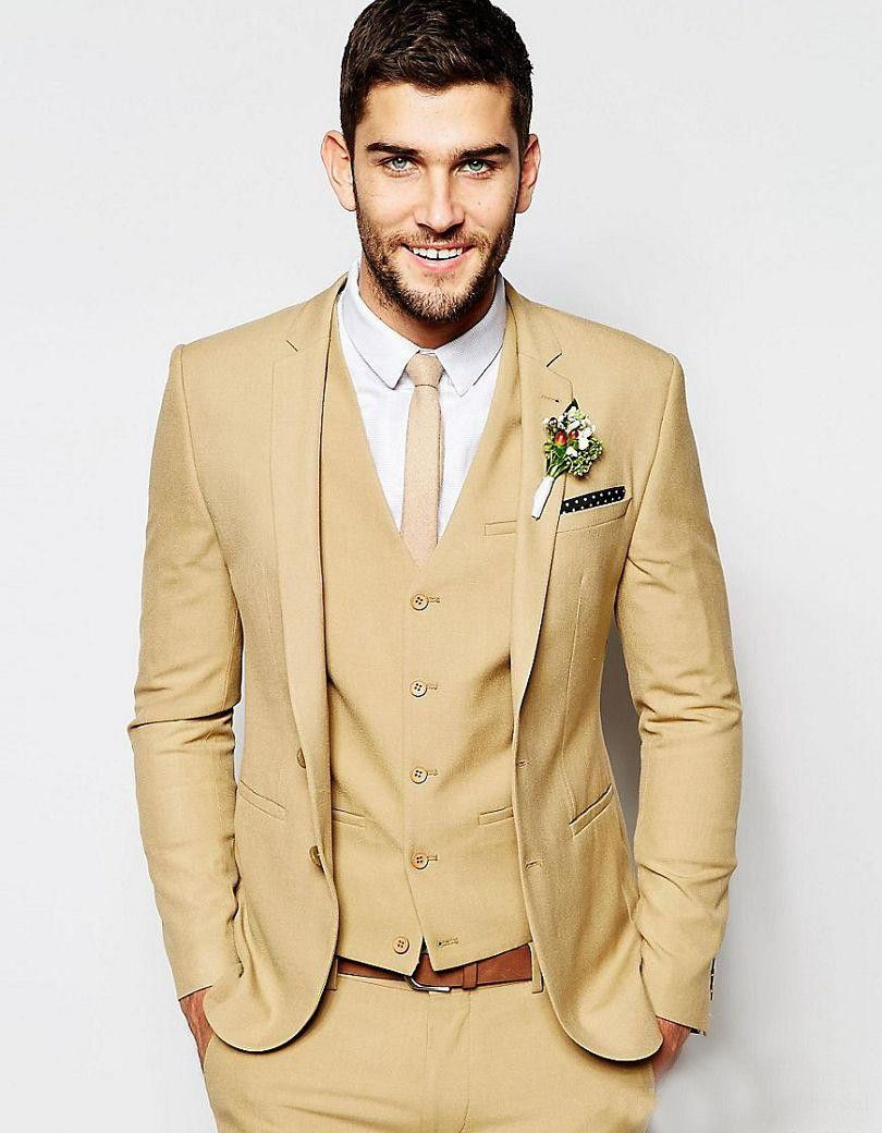 6af8f13ceb0 2017 Latest Coat Pant Designs Tan Wedding Suits for Men Formal Skinny Prom  Blazer Masculino Gentle Groom Tuxedo 3 Piece Custom k