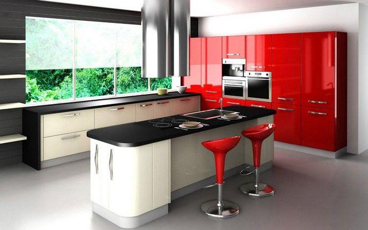 Cuisine moderne rouge et noir #moderne #inspiration #style ...