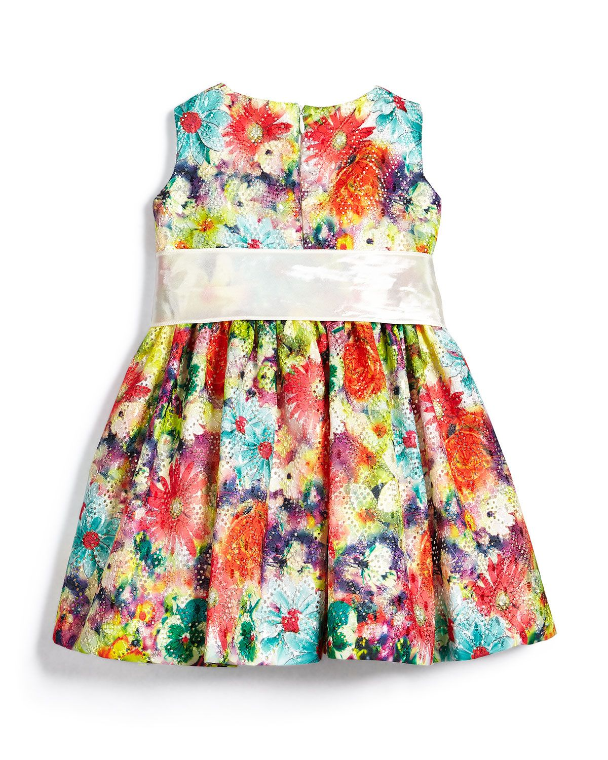 Garden Party Mesh A-Line Dress, Multicolor, Size 6M-3T