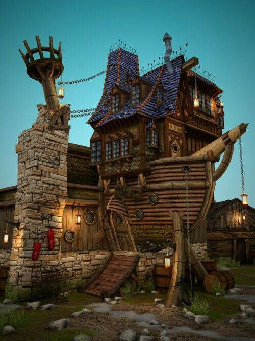 Pirate ship house--NOT a tiny house...but I d the look ... on home designers, knitting designers, building designers, tiny houses on wheels,