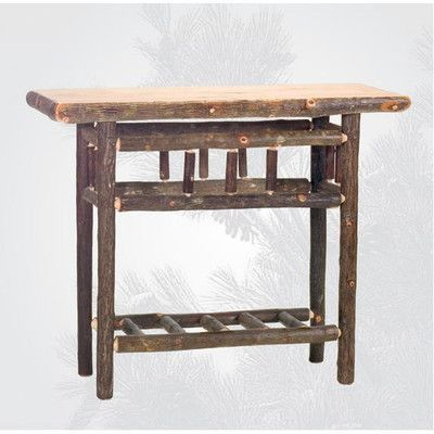 Pleasant Fireside Lodge Hickory Open Console Table Color Rustic Squirreltailoven Fun Painted Chair Ideas Images Squirreltailovenorg