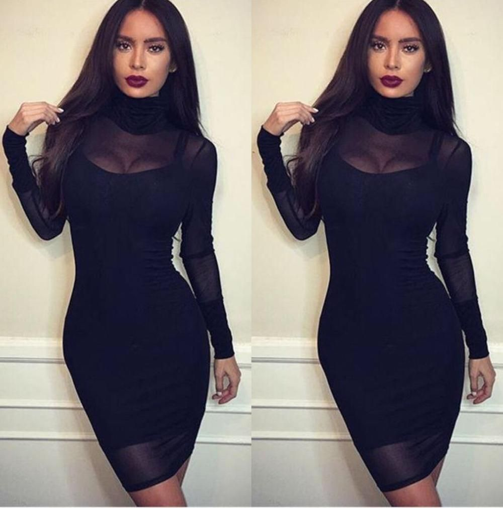 Fashion women lace bodycon long sleeve pary evening cocktail short