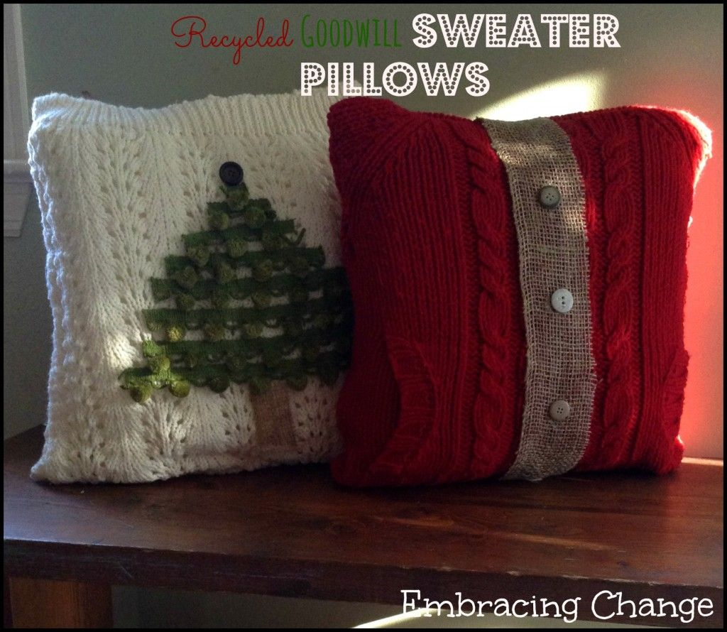 Recycled Goodwill Sweater Pillows Thrift Store Crafts