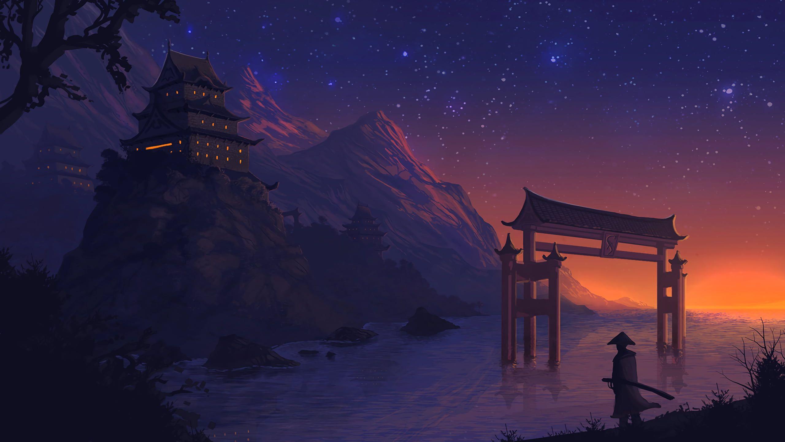 Hd Wallpaper Man Near Torii Gate Wallpaper Gray Temple Wallpaper Hd Landscape Samurai Wallpaper Landscape Wallpaper 10 wallpaper anime samurai