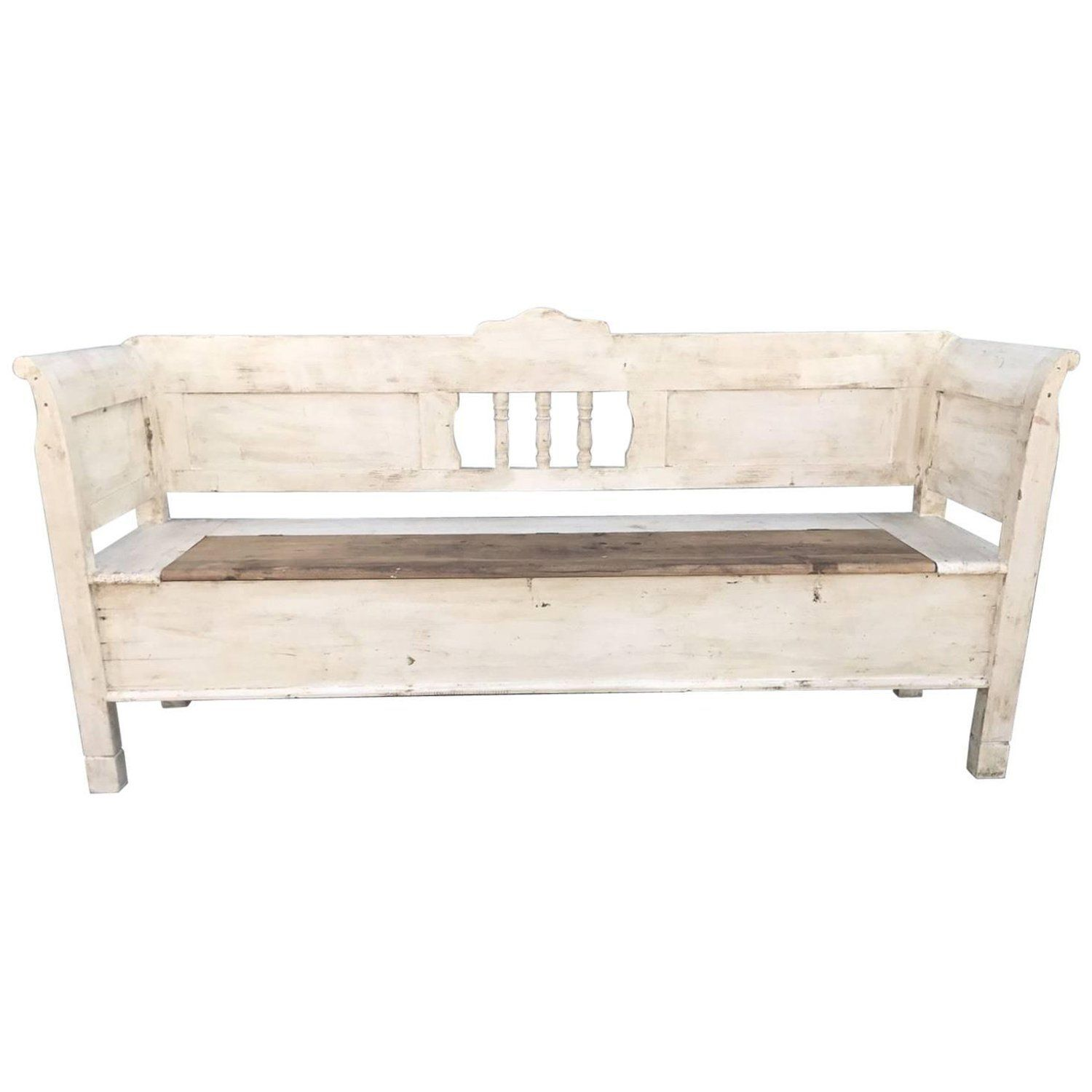 Surprising French Antique Vintage Bench Seat Settle Painted Pdpeps Interior Chair Design Pdpepsorg