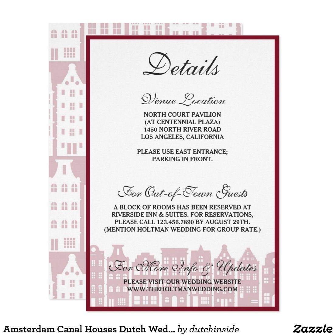 Amsterdam Canal Houses Dutch Wedding Details Card Zazzle Com Wedding Details Card Amsterdam Canals Canal House