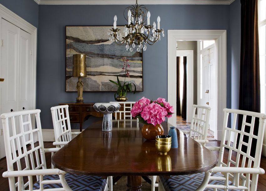 Angie Hranowski Stunning Blue Dining Room With Walls Paint Color Chippendale Table White