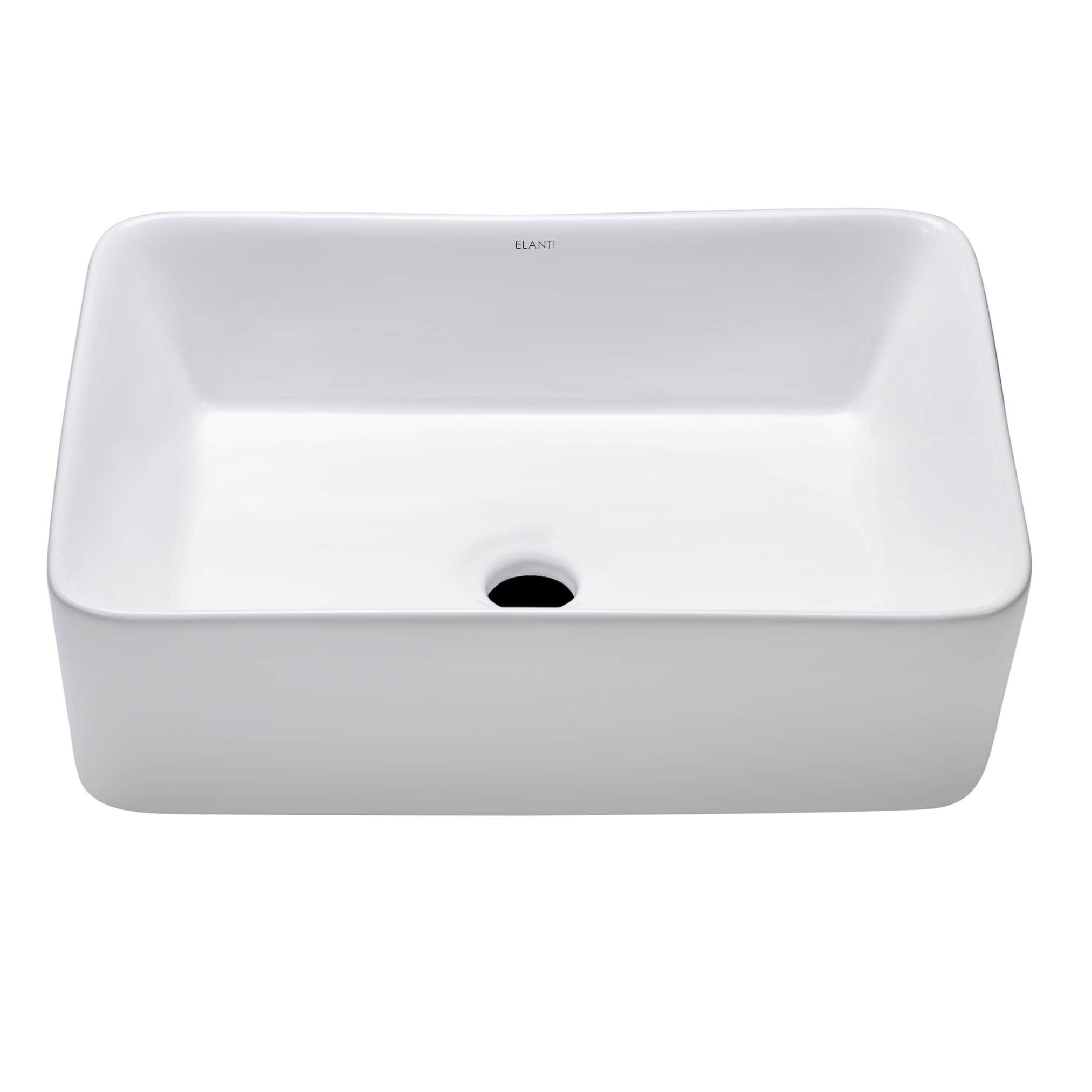 Elanti Collection 1606 Porcelain Tall Edge Deep Basin Rectangular Vessel  Sink In White (Porcelain