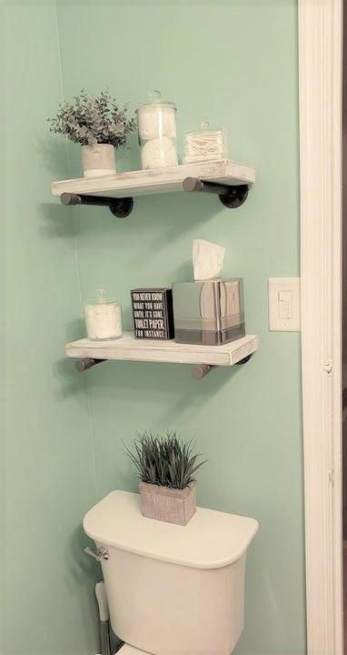 GRAY INDUSTRIAL PIPE FLOATING SHELF - SET OF 2