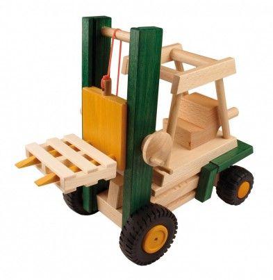 Wooden forklift truck toy.