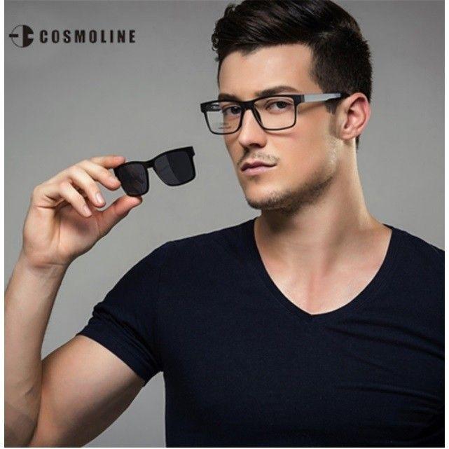 0d903a9f74972 Cosmoline® L369 Armação de Óculos e Sol Masculino Magnético Titânio ...
