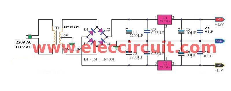 Dual 15v Power Supply Schematic With Pcb 15v 15v 1a Eleccircuit Circuit Diagram Power Supply Circuit Circuit
