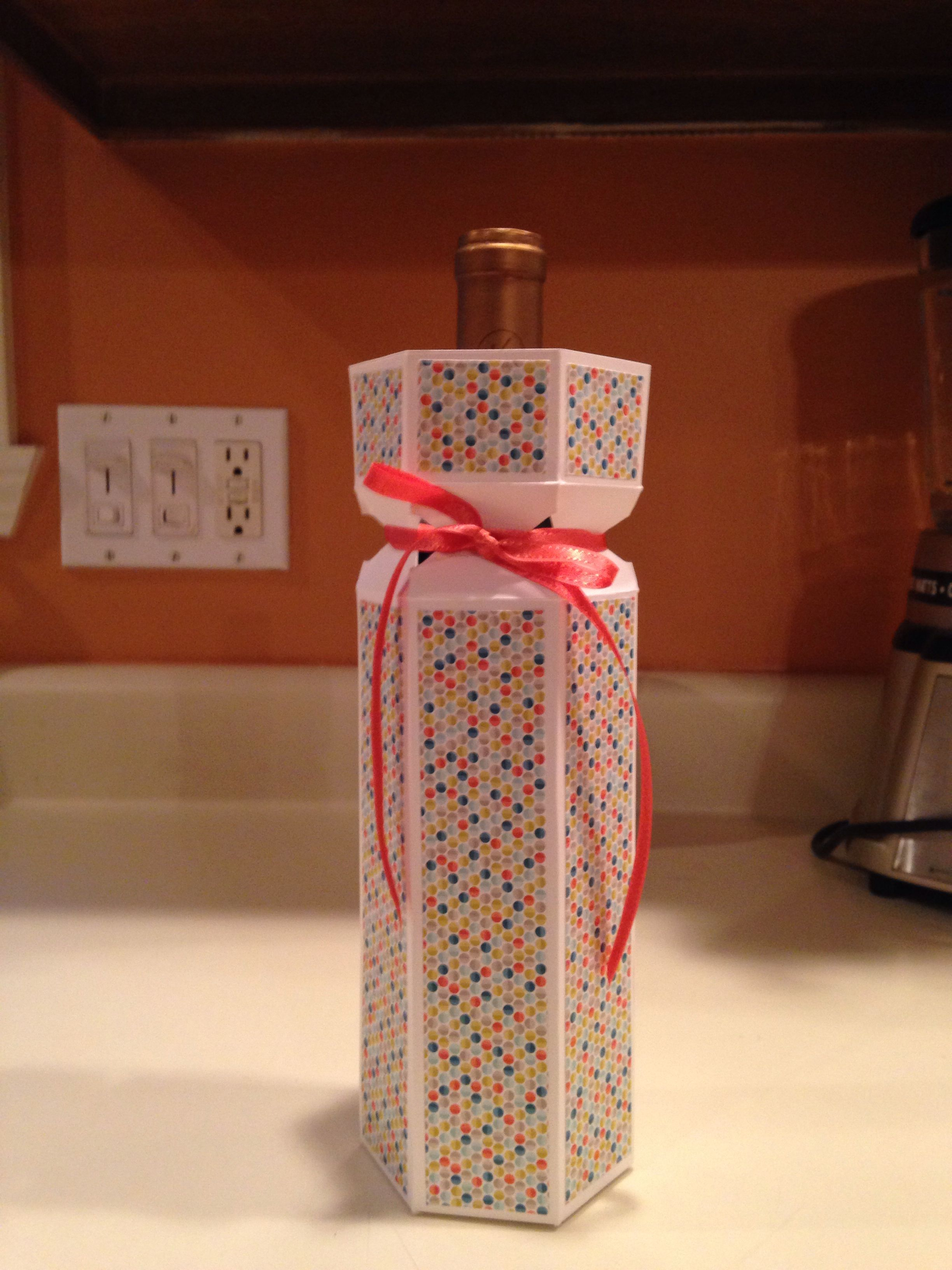 Wine bottle box with Stampin Up DSP and envelope punch board | Card ...