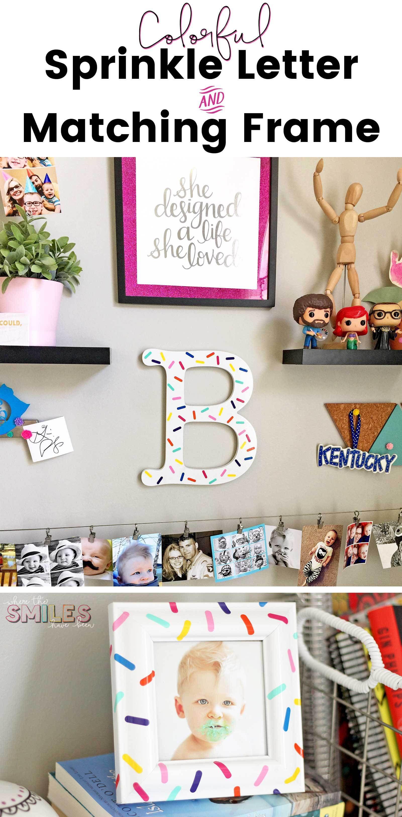 Colorful DIY Sprinkle Letter & Matching Frame: A Great Vinyl Scrap ...