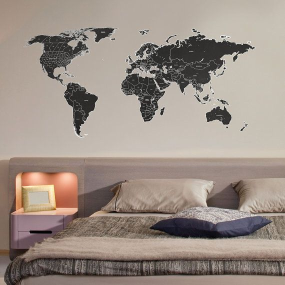 Black labelled world map wall sticker by thebinarybox on etsy black labelled world map wall sticker by thebinarybox on etsy gumiabroncs Choice Image