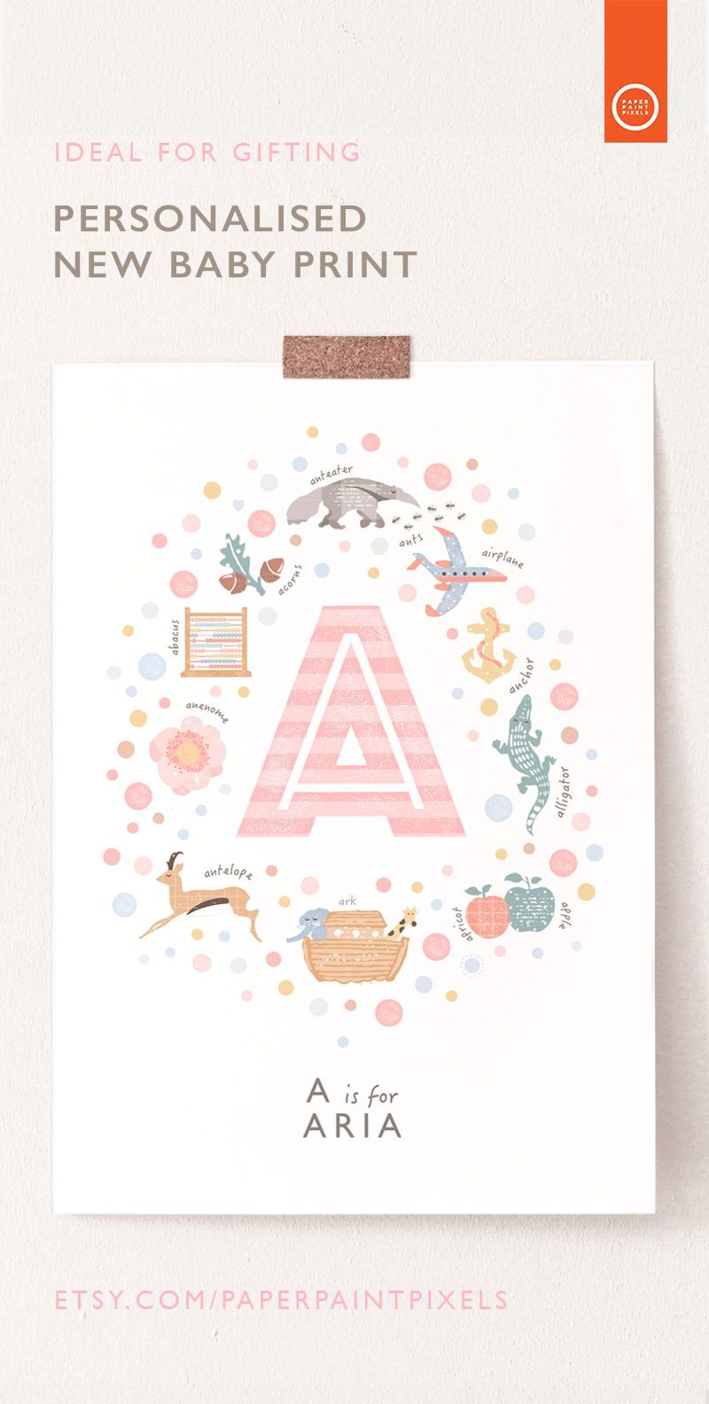 Personalised Pink Nursery Art Print Letter A Nursery Wall Etsy Pink Nursery Art Nursery Art Prints Baby Girl Nursery Decor