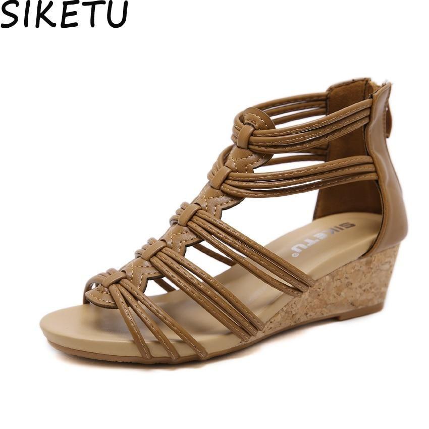 09183c26060 SIKETU Women Rome Gladiator Sandals Open Toe Strappy Platform Wedge ...