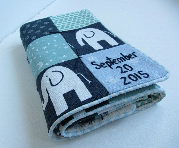 Custom baby boy quilt name and date handembroidered by dolcedreams custom baby boy quilt name and date hand embroidered nursery decor baby shower gift navy blue teal grey elephants stars dots trees negle Image collections