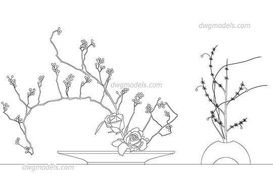 Ikebana Japanese floral dwg, cad file download free  | cad
