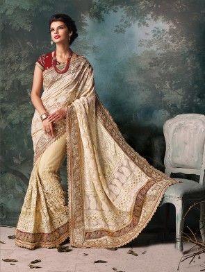 1d256a6ad1 Cream Lakhnavi Saree With Diamond Work | Saree | Saree wedding ...