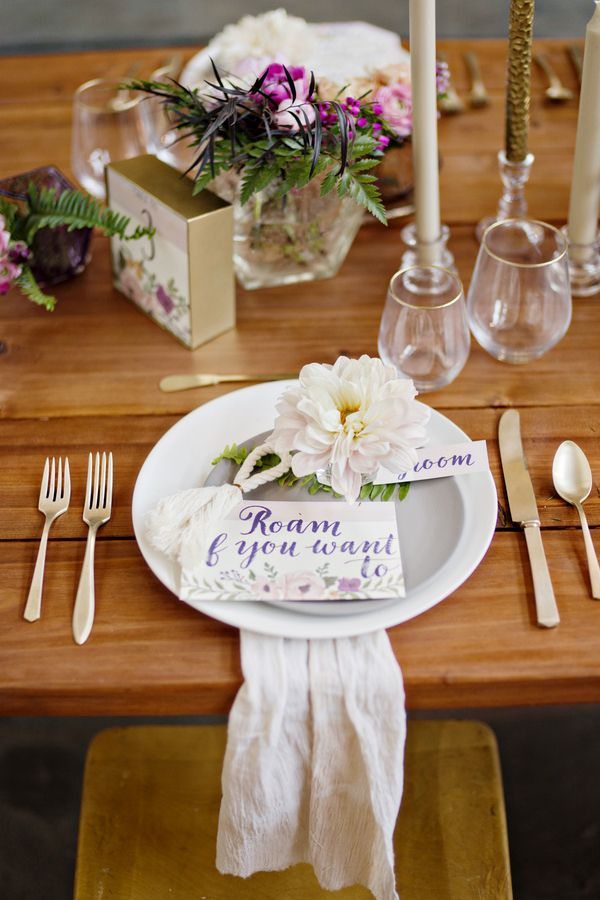 Lush Gold and Pastel Floral Place Setting | Andie Freeman Photography