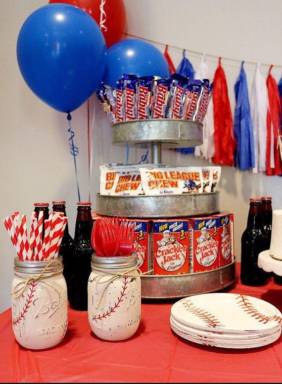 Painted Mason Jar Set Baseball Themed Party By Chalkandpatina