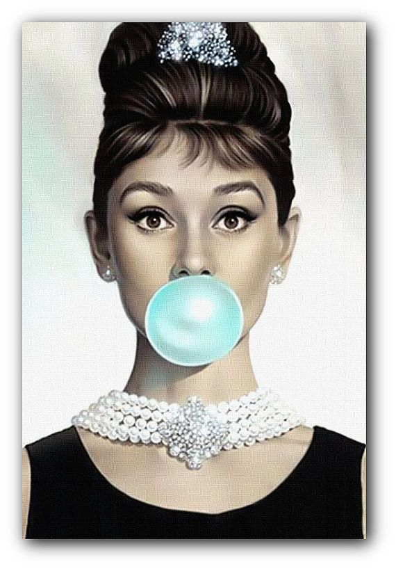 Audrey Hepburn Blue Bubblegum Canvas Art Print | Etsy in 2018 ...