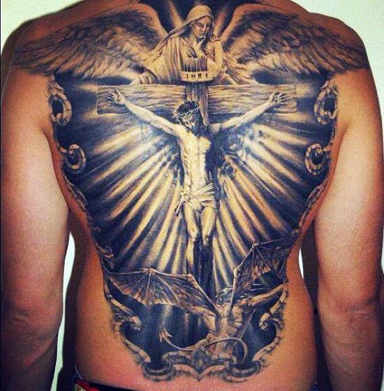 Cross Chest Jesus Tattoos
