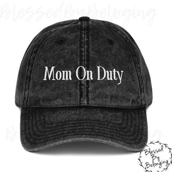 437d0d03 Mom On Duty- Funny Hats for Mom- Mama Hat- Distressed Hats- Trucker Hat-  Summer Hat- Mom Trucker Hat