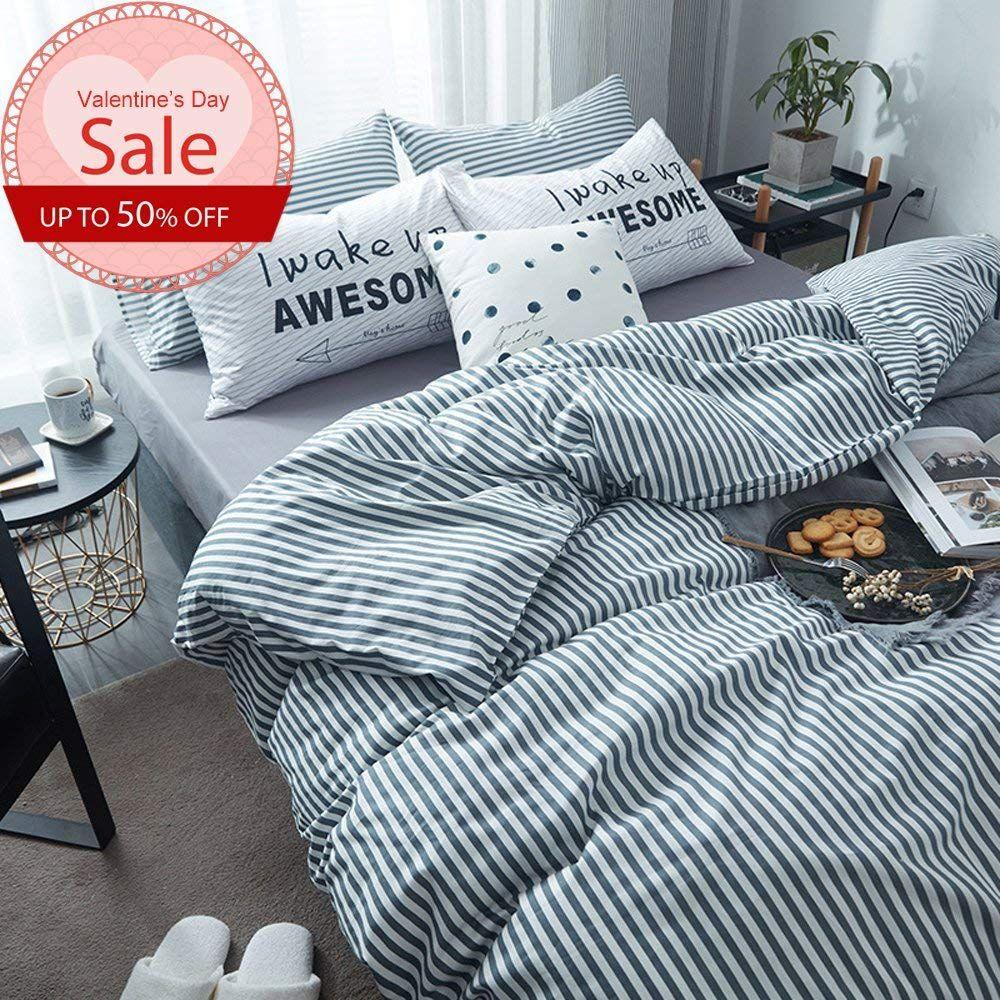 Pinstripe Pattern Bedding Duvet Cover Set Queen Size For Boys