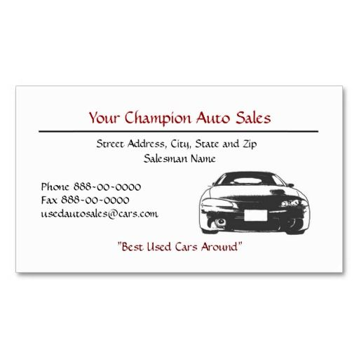 Used Car Dealer Business Card  Auto Sales Business Cards