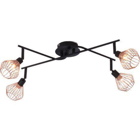 Rampe 4 Spots Sans Ampoule 4 X G9 Noir Dalma Brilliant Plafonnier Luminaire Cuivre