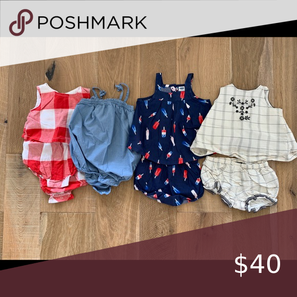 Gap and old navy baby rompers and two pieces Worn once or twice, excellent