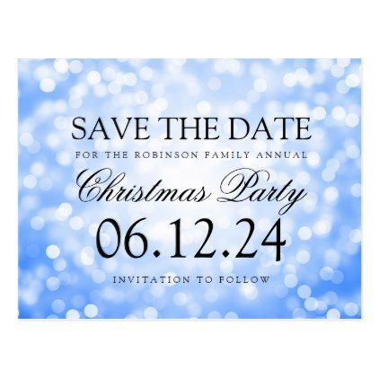 Christmas Party Save The Date Blue Glitter Lights Announcement