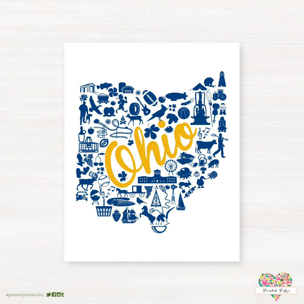 Kent, Ohio Landmark State Giclée Map Art Print  - 8x10 - Kent State University Map Art - Graduation Gift Idea - Dorm Decor by PaintedPost on Etsy https://www.etsy.com/listing/171298260/kent-ohio-landmark-state-giclee-map-art