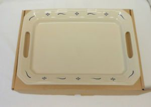 A Longaberger Woven Traditions Classic Blue Handled Tray Platternew In Box