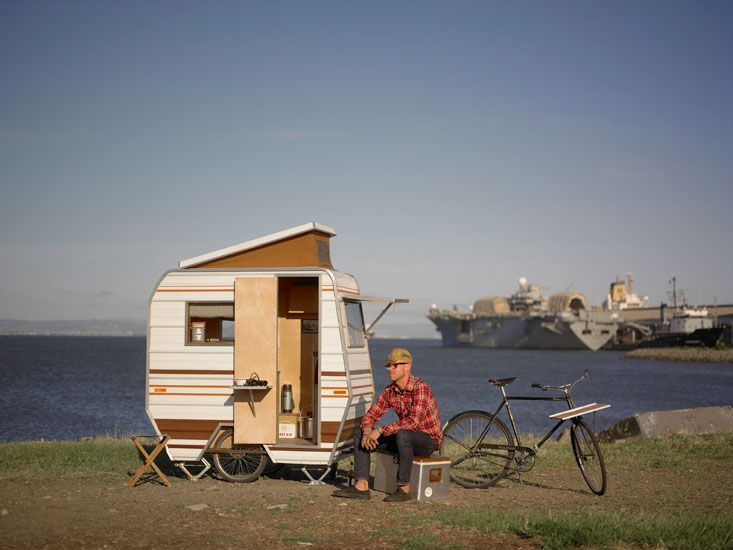 camper bike talk about packing light - Tiny Camping Trailers